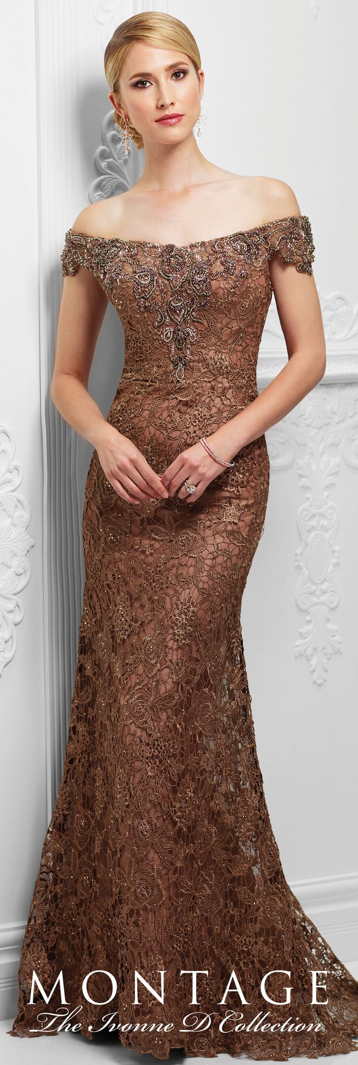 Formal Evening Gowns by Mon Cheri - Spring 2017 - Style No. 117D71 - bronze tulle and embroidered lace evening dress
