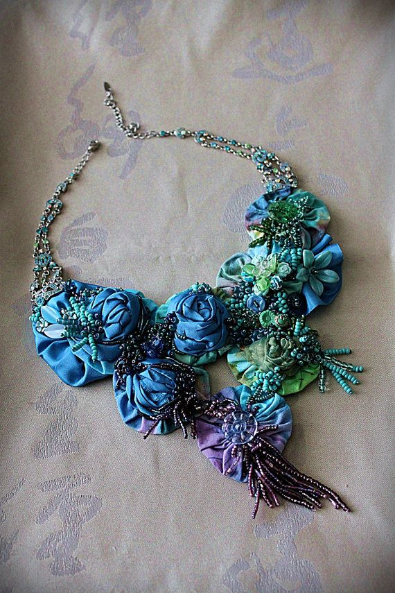 LOVE IS BLUE Beaded Textile Statement Necklace by carlafoxdesign