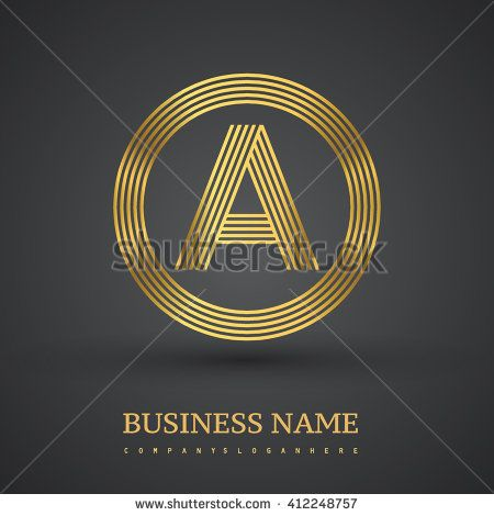 Elegant gold letter symbol. Letter A logo design. Vector logo design template elements  for company identity. - stock vector