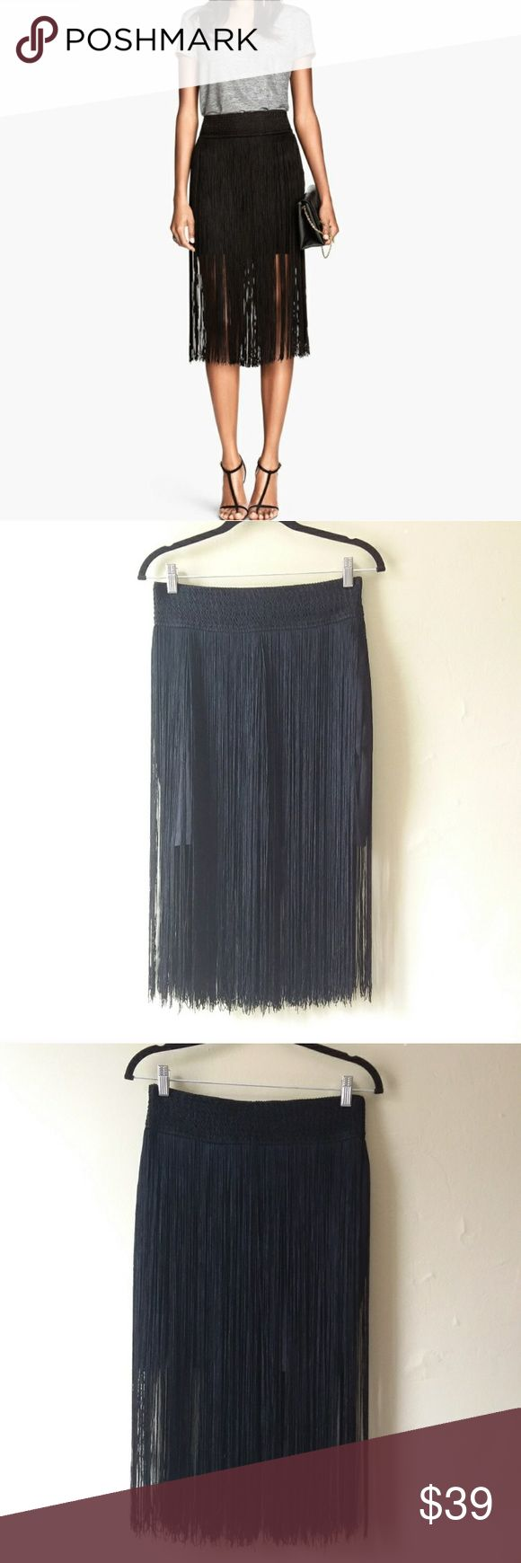 H&M fringe black skirt New with tags. Mini. Chanel Dior Zara Fendi Kenzo Prada Hermes Michael Kors Valentino Lacoste Louis Vuitton Balenciaga Alexander Wang Kate Spade Hugo Boss Burberry Prada Gucci Runway Fashion show.  Free people. Premuim Signature collection. Bundle with other items to get 15% off. H&M Skirts Midi