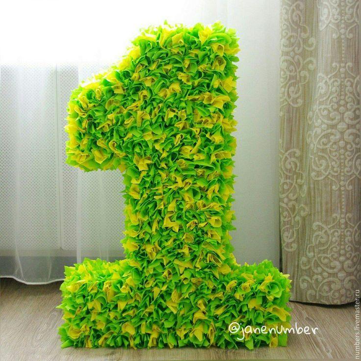 """Купить Объемные цифры """"Один""""  Пушистые - ярко-зелёный, цифра на день рождения, цифра для фотосессии"""