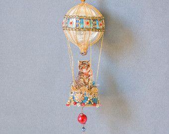 Victoriaanse kerst ornament, hete lucht ballon sieraad met kat, Victoriaanse ornament, Victoriaanse kat ornament - THE KATACHTIGE FANCY