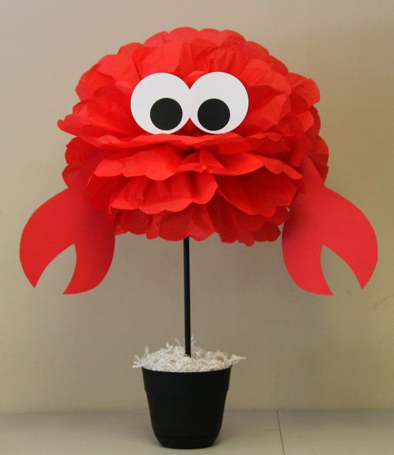 Crab tissue paper pom pom kit under the sea by TheShowerPlanner