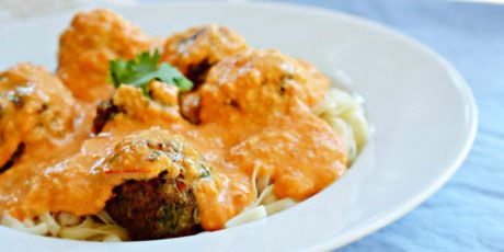 Thai Coconut Pasta and Meatballs