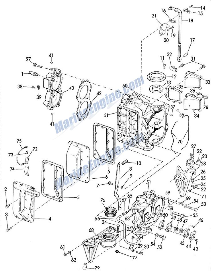 Evinrude Crankcase And Cylinder Parts for 1963 28hp 28352A