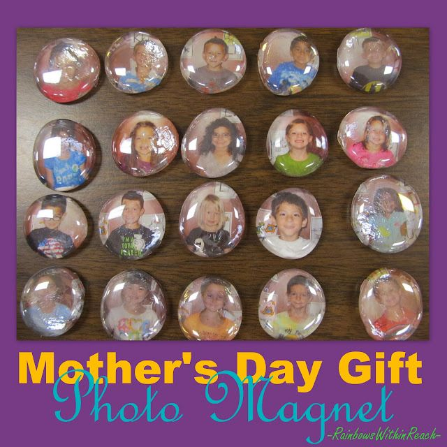 Mom, You Rock: made these with second graders last year; just bought a mesh bag of glass @ Dollar Tree tonight; put glue on top of cut-out photo, lay glass rock over it & allow to dry completely; add a magnet~done!