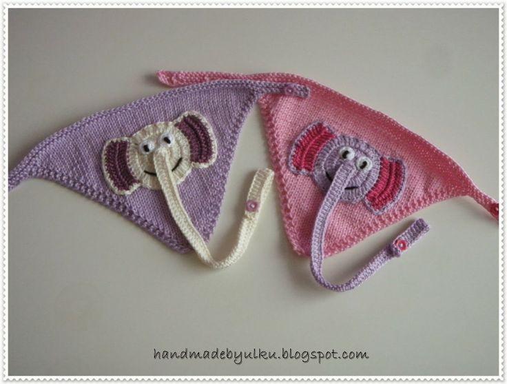 Baby Bib Knitted / Bebek Önlügü / Baby Lätzchen mit Schnullerkette