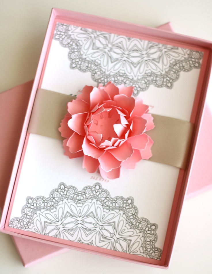 Flowers and Lace Boxed Invitation 1050 via