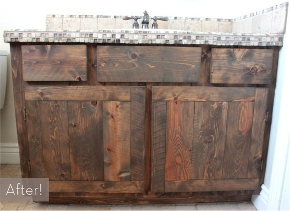 Before after a rustic diy oak vanity makeover old - How to make a bathroom vanity cabinet ...