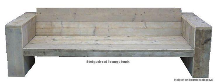 Tuinbank bouwtekening, steigerhout loungebank in lichte whitewash.