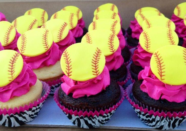 Softball Cupcake Topper by FondantFantasy on Etsy, $11.00