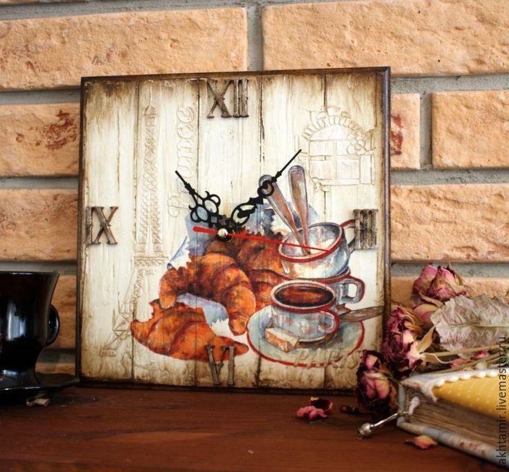 """Купить Часы """"Завтрак в Париже"""" - комбинированный, часы, часы настенные, часы для кухни, часы для дачи"""