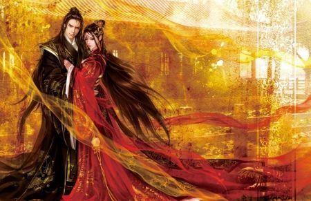 Fantasy pár - fantasy, sárga, pár, Luminos, fekete, férfi, lány, nő, ázsiai, valleyhu, fejedelem, piros, hercegnő
