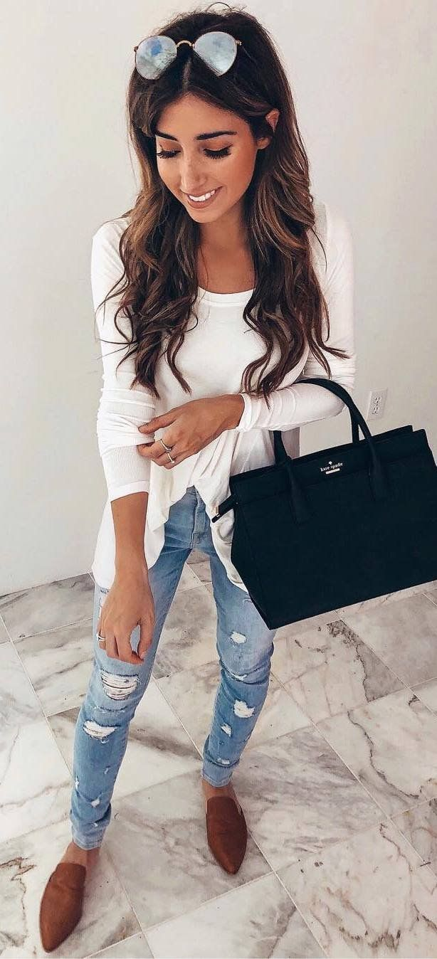 spring casual style addiction black bag   white top   rips   boots