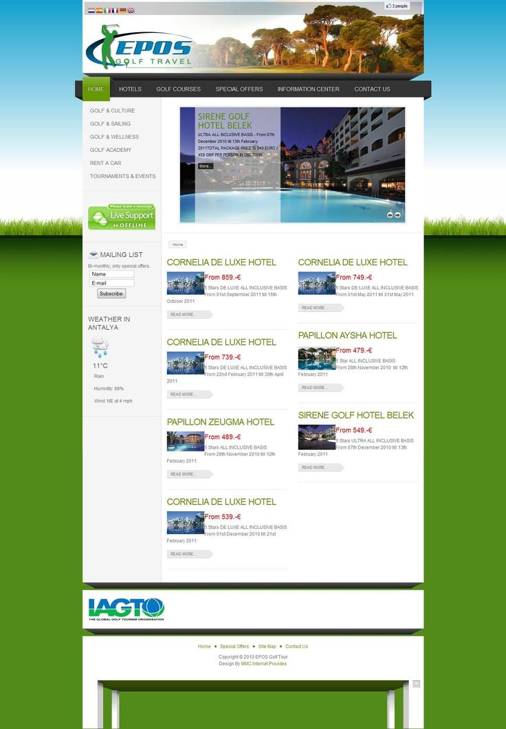 Epos Golf Tour & Travel Co. Webdesign