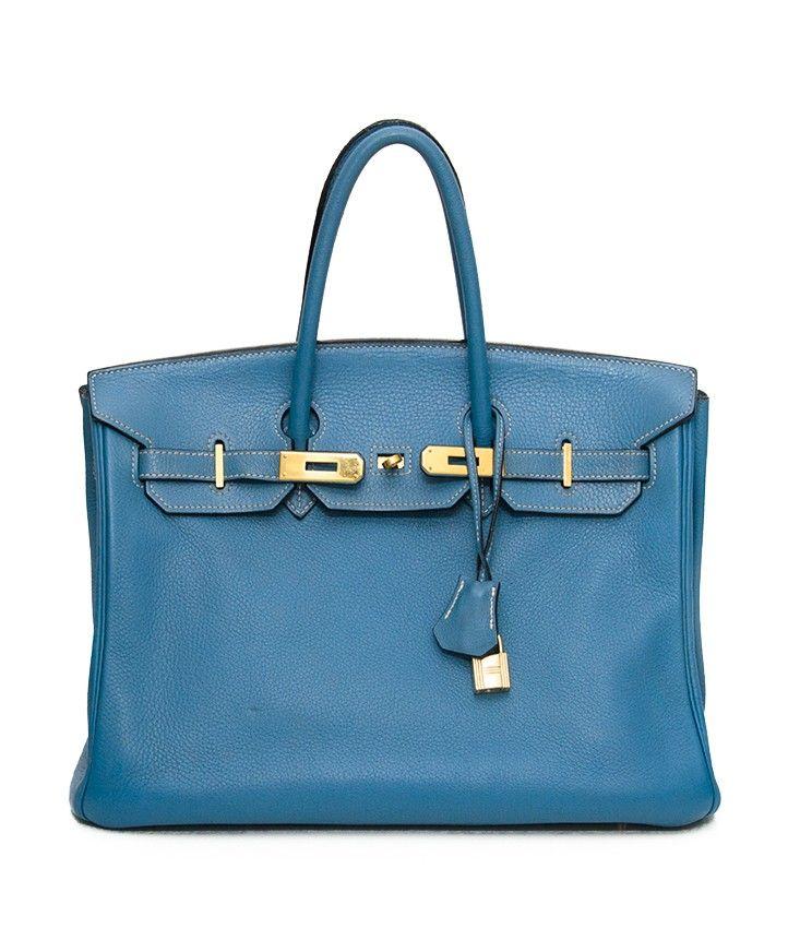 Authentieke tweedehands blauwe Hermès Birkin handtas GHW goud clochette cadenas regen cover 35cm  designer vintage luxe merken webshop