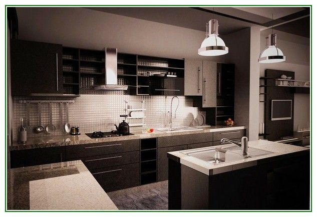 Great share Contemporary Black Kitchen Granite Countertops With Tile Backsplash