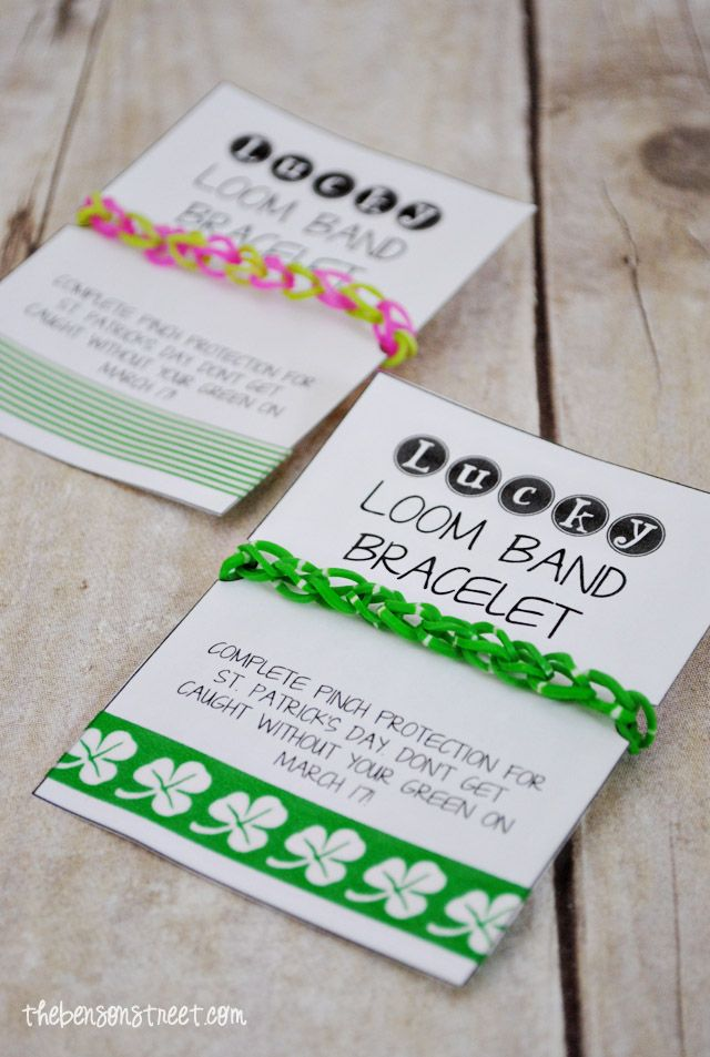 Lucky Loom Band Bracelet Printable +  thebensonstreet.com