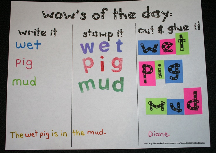 WOW=Wonderful Outstanding Words:   Free template and alphabet letters.  Students write a sentence on the bottom. Great for Daily 5