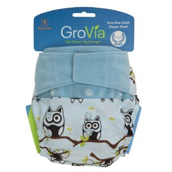 GroVia Hybrid (hook and loop) - Owls - too cute and such a versatile nappy