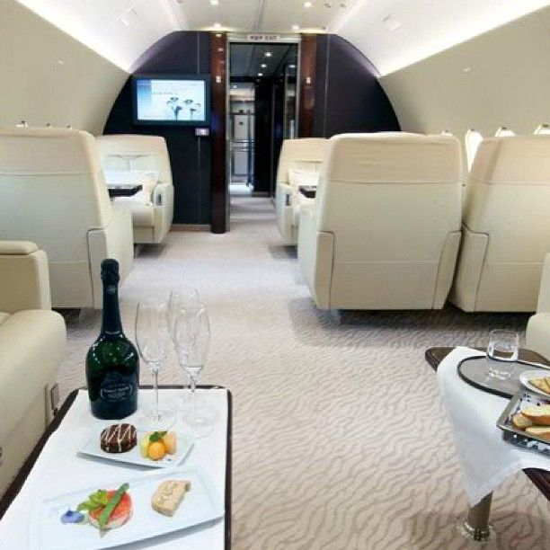 Boeing Business Jet interior. Time for aperitif!...  For a career in corporate aviation see our VIP Flight Attendant training courses at www.corporateflighttraining.com