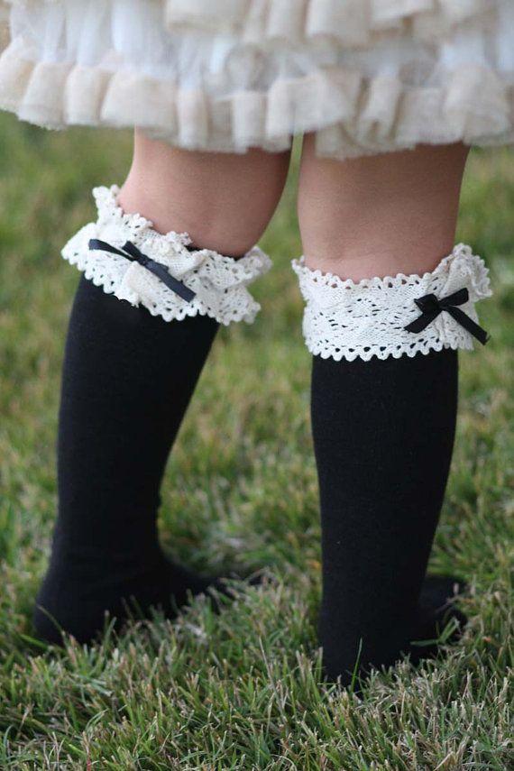 Kids Vintage socks Black and White Bow Girls by LoveBeeShop
