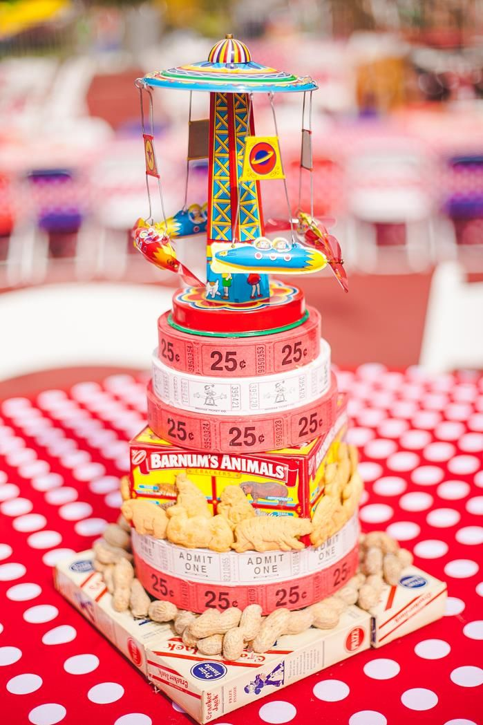 Adorable centerpiece idea at a CARNIVAL PARTY via www.KarasPartyIdeas.com #carnival #circus #PartyIdeas #centerpiece