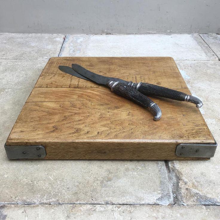 For Sale - Heavy oak mid century butchers block chopping board for the kitchen with steel corner brackets just on the Website. #butchersblock #choppingboard #antiquekitchen #kitchenstyling #oak #oakchoppingboard #kitchen