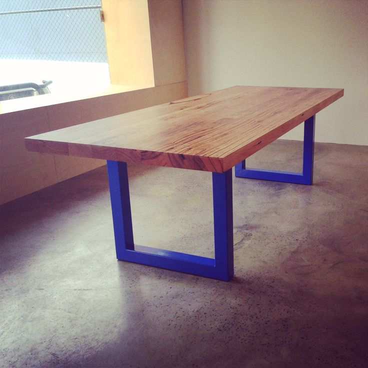 Timber Revival recycled Messmate table with powder coated steel frames
