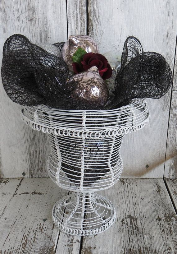 Distressed wire basket potpourri basket rustic by ChippedPaints