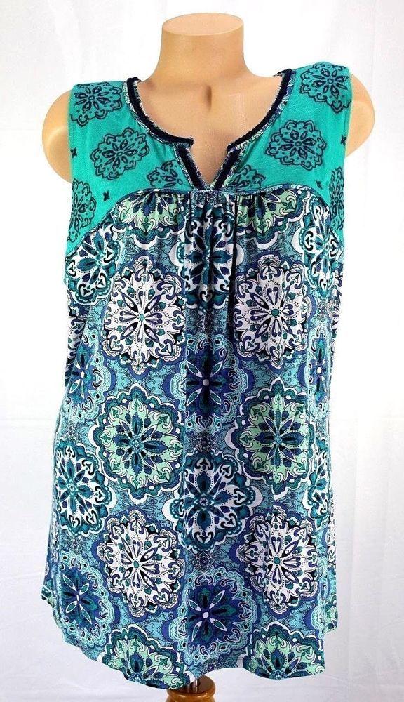 f5bd1d3280cca Dept 222 Womens Plus Size Tunic Top 2X Mystic Blues Sleeveless   Department222  KnitTop