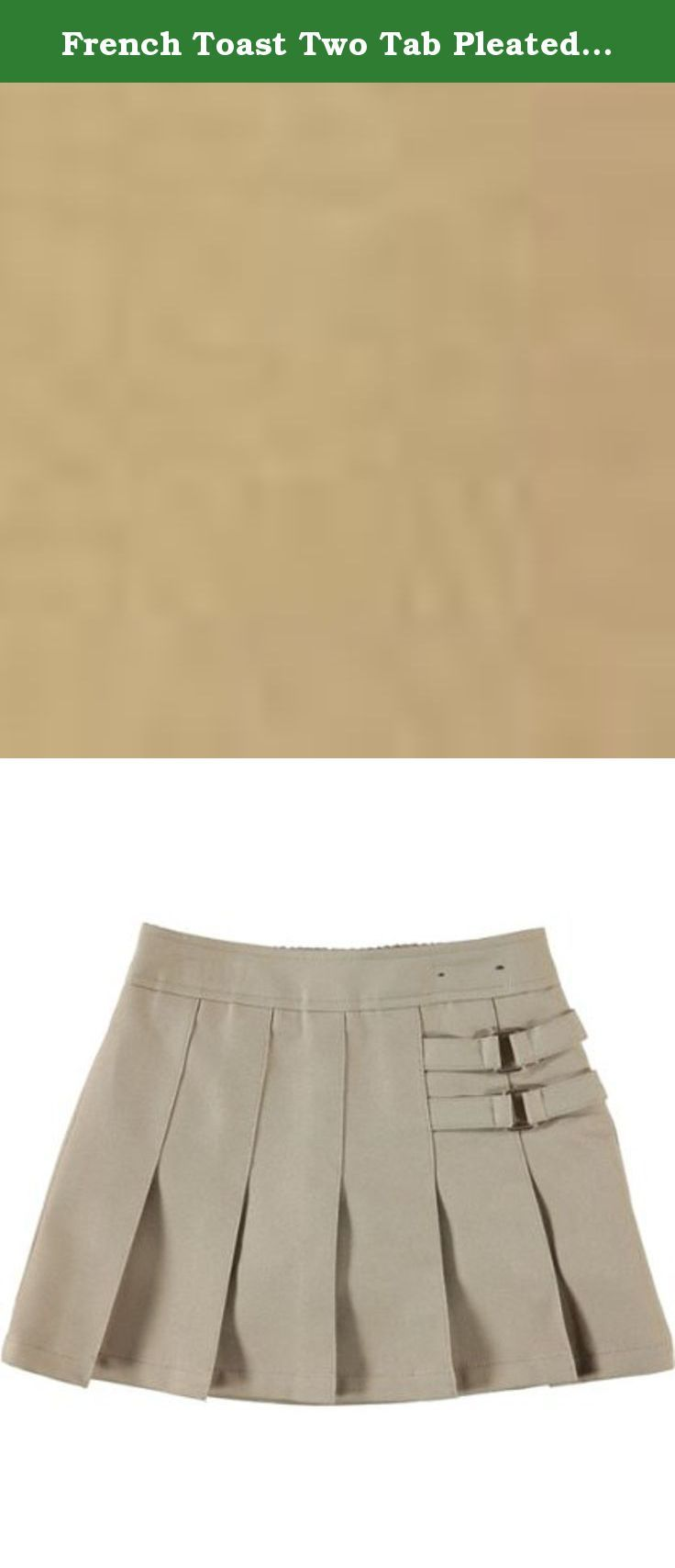 French Toast Two Tab Pleated Skort - khaki, 4. This skort features two decorative side tabs for a stylish effect along with a side zippered closure. There are pleats on the front of the skort for an added look, which takes a simple skort and adds some flavor to give your child the look they want. Shorts inside for modesty and sport. Style meets sophistication in this pleated skort. Measures 12 inches long100% PolyesterMachine WashFrench Toast Official School Wear... Holiday.