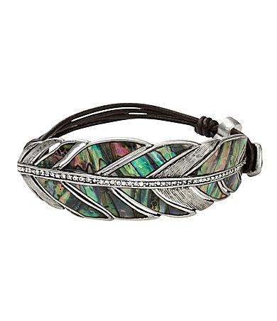 Fossil Abalone Bracelet: Leather Cords Bracelets, Tones Abalone, Shells Feathers, Feathers Leather, Abalone Shells, Fossils, Fossil Bracelets, Silver Tones, Feathers Bracelets