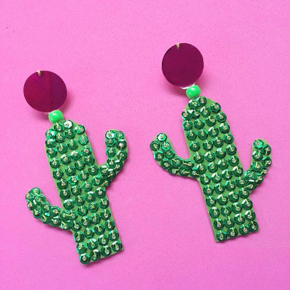 Cactus Dangle Statement Earrings