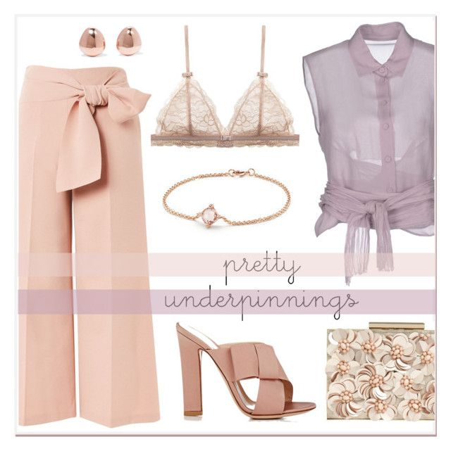 """""""Pretty Underpinnings"""" by elli-argyropoulou ❤ liked on Polyvore featuring Topshop, Alberta Ferretti, Gianvito Rossi, Phase Eight, David Yurman and Monica Vinader"""