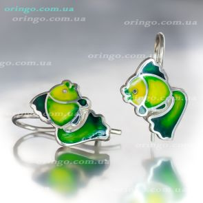 Рыбки, Серьги из , цвет - Зелёная Эмаль(Зелёный), Эмаль, стиль - Детская серия, артикул - 2105010-21