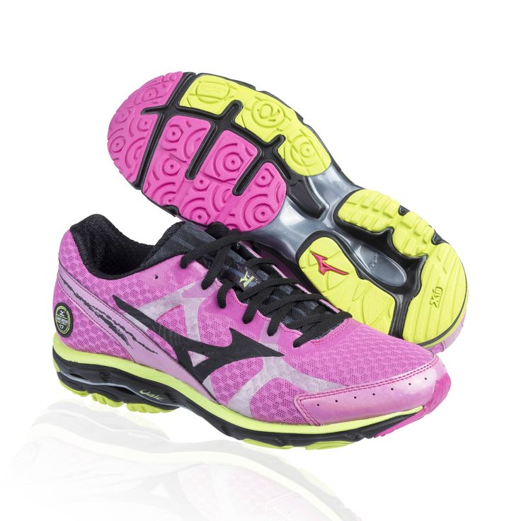 Mizuno Wave Rider 17 running shoe- electric/black/lime punch