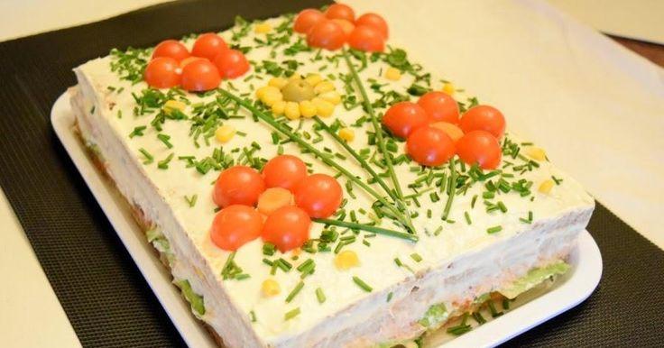 Pastel salado con pan de molde integral y atún