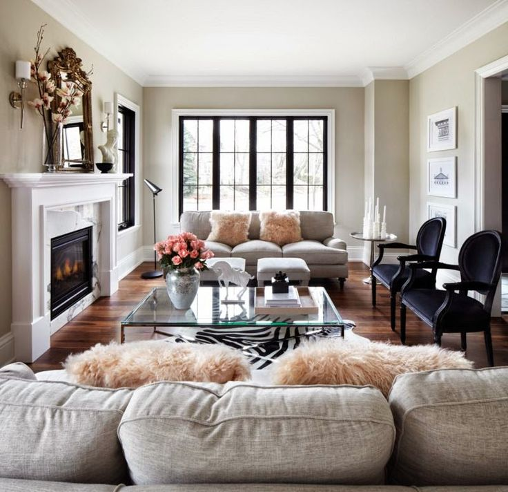 cozy - love the color combos with blush and navy/black and decor