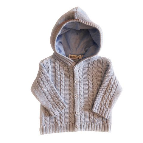 Cable Knit Hooded Jacket - Blue