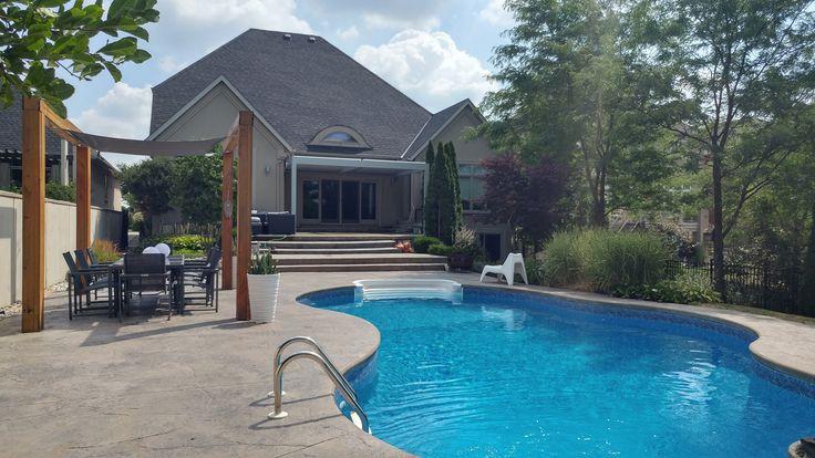 Aluminum Pergola with pool .  #aluminumpergola #pergola #pool #pergolas #pergolaideas #backyard #backyards #landscaping #landscapingideas #canada