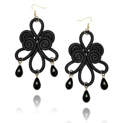 Polymer Clay Chinese Knot Chandelier Earrings Black