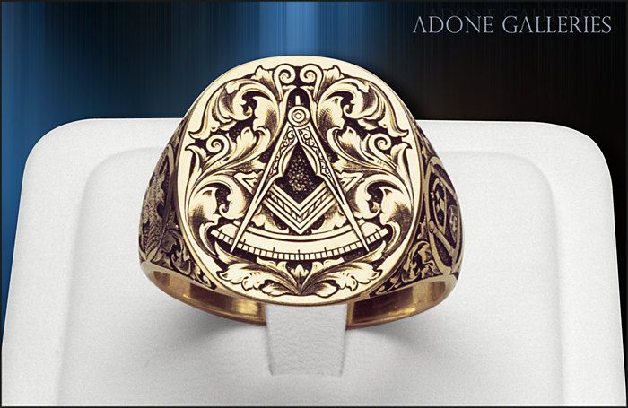 Past Masters / Scottish rite - 18K Gold Signet Ring engraving