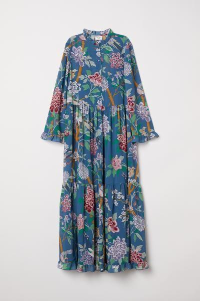 9ca3b755d4 H&M Patterned Chiffon Dress - Blue in 2019   Wishlist   Chiffon ...