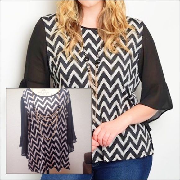 zig zag you way to this chevron top! Pair this neutral plus size chevron top with jeans and ur ready to go out. Top comes with a necklace.                                                         Color: black, white, gold Tops Blouses