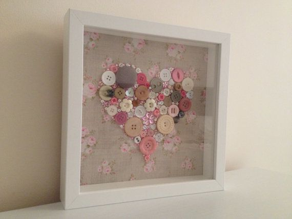 Pink Flower Box Frame Button Art Unique Handmade. size 9x9inc