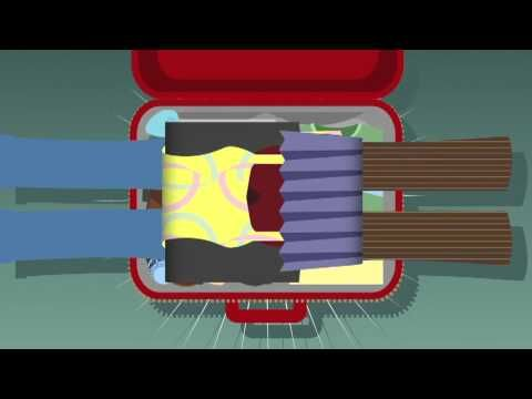 How to pack like a flight attendant - a cartoon demonstrating easy tips for stuffing more stuff into your suitcase.