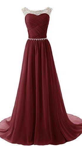 Custom Made A Line Round Neckline Maroon Long Prom Dress