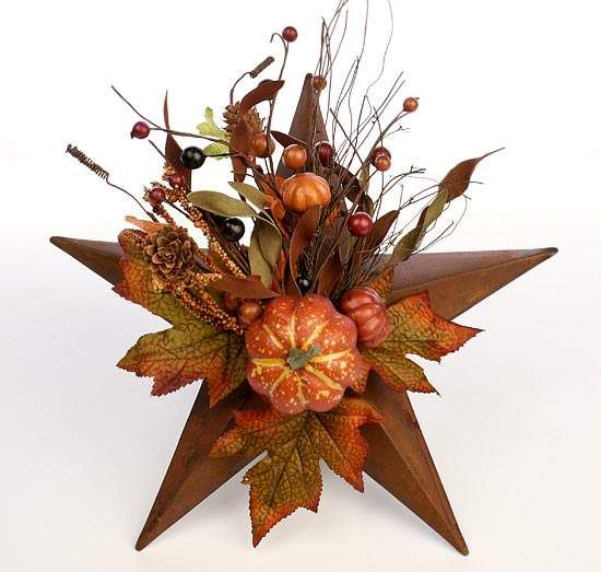 "12"" Decorated Fall Pumpkin Rusty Star"