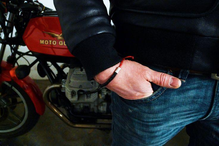 www.877workshop.com — Men's black leather bracelet red sailing rope